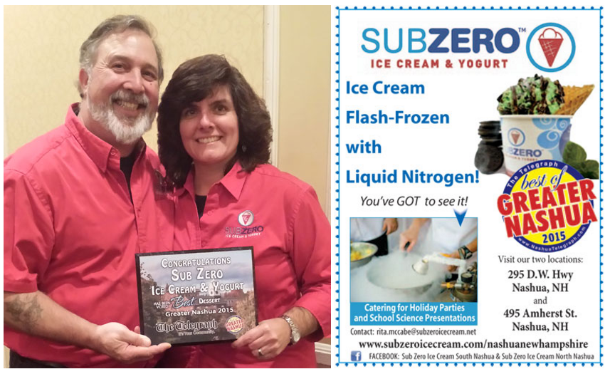 Sub Zero Ice Cream & Yogurt Wins Award